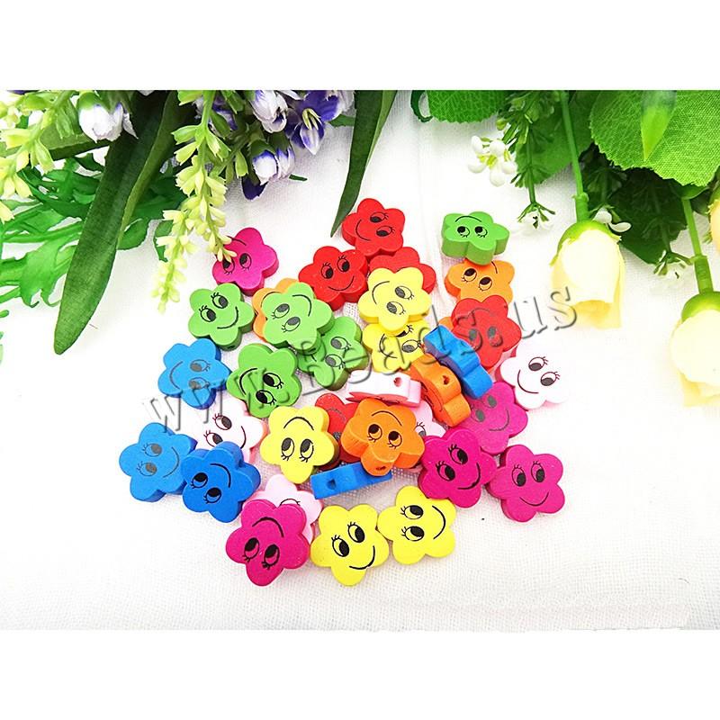 Holzperlen, Holz, Spritzlackierung, verschiedene Muster für Wahl & gemischt, farbenfroh, 20mm, Bohrung:ca. 1.5mm, verkauft von Tasche