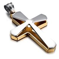 Titan -Anhänger, Titanstahl, Kreuz, plattiert, zweifarbig, 32x58mm, Bohrung:ca. 3-5mm, verkauft von PC