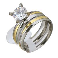 Zirkonia Edelstahl Finger Ring Set, plattiert, verschiedene Größen vorhanden & für Frau & mit kubischem Zirkonia, 8mm, 8mm, 2PCs/setzen, verkauft von setzen