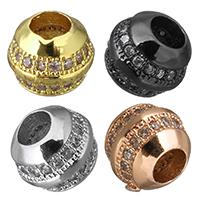 Zirkonia Micro Pave Messing Europa Bead, Trommel, plattiert, Micro pave Zirkonia, keine, frei von Nickel, Blei & Kadmium, 7x6.50mm, Bohrung:ca. 3mm, 10PCs/Menge, verkauft von Menge