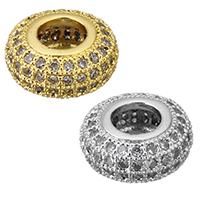Zirkonia Micro Pave Messing Europa Bead, Rondell, plattiert, Micro pave Zirkonia & ohne troll, keine, frei von Nickel, Blei & Kadmium, 10x5mm, Bohrung:ca. 4.5mm, 8PCs/Menge, verkauft von Menge