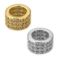 Zirkonia Micro Pave Messing Europa Bead, Rondell, plattiert, Micro pave Zirkonia & ohne troll, keine, frei von Nickel, Blei & Kadmium, 7x4mm, Bohrung:ca. 4.5mm, 10PCs/Menge, verkauft von Menge