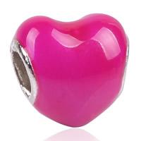 Zink Legierung Europa Perlen, Zinklegierung, Herz, Platinfarbe platiniert, ohne troll & Emaille, frei von Blei & Kadmium, 11x11mm, Bohrung:ca. 4.5-5mm, 10PCs/Tasche, verkauft von Tasche