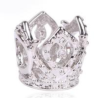 Zink Legierung Europa Perlen, Zinklegierung, Krone, Platinfarbe platiniert, ohne troll & mit Strass, frei von Blei & Kadmium, 10x11mm, Bohrung:ca. 4.5-5mm, 10PCs/Tasche, verkauft von Tasche