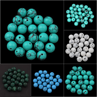 Türkis Perlen, Synthetische Türkis, rund, verschiedene Größen vorhanden, keine, Bohrung:ca. 1mm, 10PCs/Tasche, verkauft von Tasche
