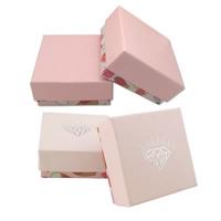 Papier Schmucksetkasten, Fingerring & Ohrring & Halskette, mit Schwamm, Quadrat, verschiedene Muster für Wahl, 73x73x35mm, 100PCs/Menge, verkauft von Menge