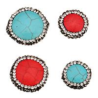 Synthetische Türkis Perle, mit Ton, flache Runde, verschiedene Stile für Wahl, 10PCs/Tasche, verkauft von Tasche