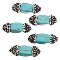 Synthetische Türkis Perle, mit Ton, 26-28x9-11x9-11mm, Bohrung:ca. 1.7mm, 10PCs/Tasche, verkauft von Tasche
