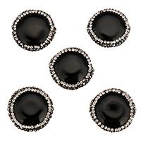 Natürliche schwarze Achat Perlen, Schwarzer Achat, mit Ton, 24-26x23-25x8mm, Bohrung:ca. 1mm, 10PCs/Tasche, verkauft von Tasche