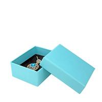 Papier Schmucksetkasten, Fingerring & Halskette, mit Schwamm, Rechteck, blau, 70x90x35mm, 50PCs/Menge, verkauft von Menge