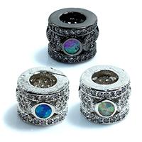 Zirkonia Micro Pave Messing Europa Bead, Trommel, plattiert, Micro pave Zirkonia & ohne troll, keine, frei von Nickel, Blei & Kadmium, 8x10x8mm, Bohrung:ca. 5mm, 5PCs/Menge, verkauft von Menge