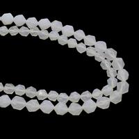Natürliche weiße Achat Perlen, Weißer Achat, verschiedene Größen vorhanden, Bohrung:ca. 1mm, verkauft per ca. 15.5 ZollInch Strang