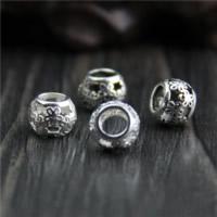 925 Sterlingsilber European Perlen, 925 Sterling Silber, Trommel, verschiedenen Materialien für die Wahl & hohl, 7.50x7.50mm, Bohrung:ca. 4mm, 30PCs/Menge, verkauft von Menge