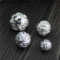 925 Sterling Silber Perlen, rund, om mani padme hum & verschiedene Größen vorhanden, verkauft von Menge
