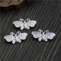 925 Sterling Silber Zwischenstege, Schmetterling, 4-Strang, 19.70x9.70mm, Bohrung:ca. 1.5mm, 10PCs/Menge, verkauft von Menge