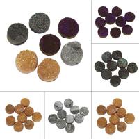Natürliche Eis Quarz Achat Perlen, Eisquarz Achat, flache Runde, druzy Stil & halbgebohrt, keine, 15x4mm-17x8mm, Bohrung:ca. 1mm, ca. 5PCs/Tasche, verkauft von Tasche