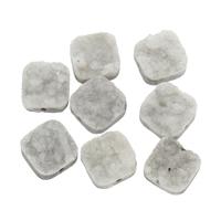 Natürliche Eis Quarz Achat Perlen, Eisquarz Achat, mit Zinklegierung, Quadrat, plattiert, druzy Stil & verschiedene Größen vorhanden, Bohrung:ca. 1mm, ca. 5PCs/Tasche, verkauft von Tasche