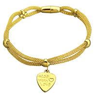 Edelstahl Schmuck Armband, Wort Buena suerte Wort, goldfarben plattiert, Armband  Bettelarmband & Maschen-Kette & für Frau, 14x19.5mm, 3mm, 16x7mm, verkauft per ca. 8 ZollInch Strang
