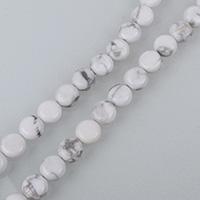Natürlicher weißer Türkis Perle, flache Runde, verschiedene Größen vorhanden, Bohrung:ca. 0.5-1.5mm, verkauft per ca. 16 ZollInch Strang