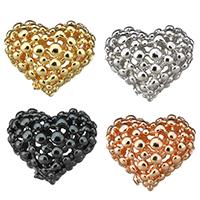 Messing hohle Perlen, Herz, plattiert, keine, frei von Nickel, Blei & Kadmium, 16x13.50x9mm, Bohrung:ca. 1.5mm, 50PCs/Menge, verkauft von Menge