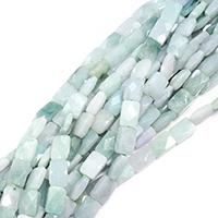Burma Jade Perle, Rechteck, natürlich, facettierte, 13x8x5mm, Bohrung:ca. 0.5mm, ca. 32PCs/Strang, verkauft per ca. 15 ZollInch Strang