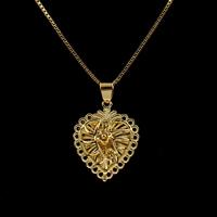 Messing Halskette, Herz, goldfarben plattiert, Kastenkette & für Frau, frei von Nickel, Blei & Kadmium, 24x20x6mm, verkauft per ca. 16 ZollInch Strang