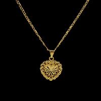 Messing Halskette, Herz, goldfarben plattiert, für Frau, frei von Nickel, Blei & Kadmium, 18x16.50x3.50mm, verkauft per ca. 16.5 ZollInch Strang