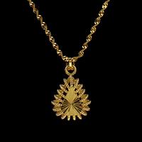 Messing Halskette, Tropfen, goldfarben plattiert, Singapur-Kette & für Frau, frei von Nickel, Blei & Kadmium, 28x20x8.50mm, verkauft per ca. 16.5 ZollInch Strang