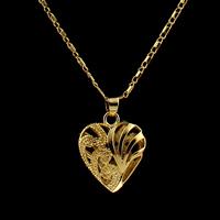 Messing Halskette, Herz, goldfarben plattiert, für Frau, frei von Nickel, Blei & Kadmium, 21x18x8mm, verkauft per ca. 16.5 ZollInch Strang