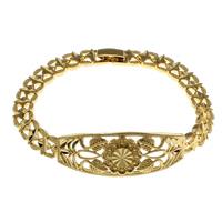 Messing-Armbänder, Messing, goldfarben plattiert, für Frau, frei von Nickel, Blei & Kadmium, 15.5x3.5mm, verkauft per ca. 7 ZollInch Strang