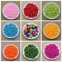 Kunststoffperlen, Kunststoff, rund, keine, 6mm, Bohrung:ca. 1.8mm, ca. 3500PCs/Tasche, verkauft von Tasche
