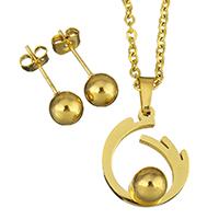 Edelstahl Schmucksets, Ohrring & Halskette, goldfarben plattiert, Oval-Kette & für Frau, 15x17.5mm, 2mm, 6mm, Länge:ca. 18 ZollInch, verkauft von setzen