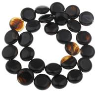 Natürliche schwarze Achat Perlen, Schwarzer Achat, flache Runde, 14.5x5mm-16x7mm, Bohrung:ca. 1mm, ca. 28PCs/Strang, verkauft per ca. 16 ZollInch Strang