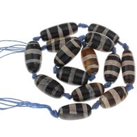 Tibetan Achat Perle, 26x13mm-32x12mm, Bohrung:ca. 1mm, ca. 14PCs/Strang, verkauft per ca. 14.5 ZollInch Strang