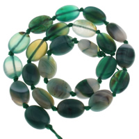 Natürliche grüne Achat Perlen, Grüner Achat, flachoval, 10x14x5mm, Bohrung:ca. 1mm, ca. 29PCs/Strang, verkauft per ca. 14.5 ZollInch Strang