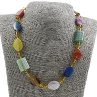 Unisex Halskette, Edelstein, mit Kristall, Messing Karabinerverschluss, facettierte, 15x20x6mm, verkauft per ca. 17 ZollInch Strang