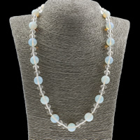 Unisex Halskette, Opal, mit Kristall, Messing Karabinerverschluss, rund, facettierte, 12mm, verkauft per ca. 20.5 ZollInch Strang