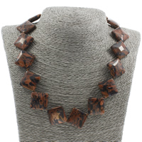 Unisex Halskette, Goldsand, Messing Karabinerverschluss, Rhombus, 26x7mm, verkauft per ca. 18 ZollInch Strang