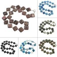 Unisex Halskette, Edelstein, Messing Karabinerverschluss, Rhombus, verschiedenen Materialien für die Wahl, 18x6mm, verkauft per ca. 18 ZollInch Strang