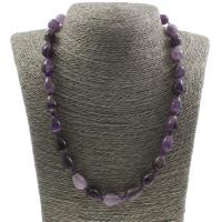 Unisex Halskette, Amethyst, Messing Karabinerverschluss, Tropfen, Februar Birthstone, 10x14mm, verkauft per ca. 19 ZollInch Strang