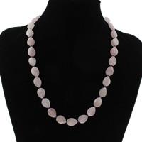 Rosenquarz Halskette, Messing Karabinerverschluss, Tropfen, natürlich, UV-Filter & für Frau, 10x14x8mm, verkauft per ca. 19.5 ZollInch Strang
