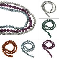Natürliche Lava Perlen, rund, Spritzlackierung, verschiedene Größen vorhanden, keine, Bohrung:ca. 1mm, verkauft per ca. 15 ZollInch Strang