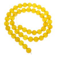 Natürliche gelbe Achat Perlen, Gelber Achat, rund, verschiedene Größen vorhanden, Bohrung:ca. 1mm, verkauft per ca. 15 ZollInch Strang