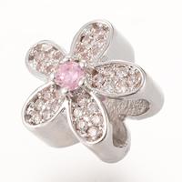 Messing European Perlen, Blume, Platinfarbe platiniert, Micro pave Zirkonia & ohne troll, frei von Nickel, Blei & Kadmium, 11.5x10.4mm, Bohrung:ca. 4-5mm, 5PCs/Tasche, verkauft von Tasche