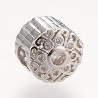 Messing European Perlen, flache Runde, Platinfarbe platiniert, ohne troll & mit kubischem Zirkonia, frei von Nickel, Blei & Kadmium, 10.3X9.2mm, Bohrung:ca. 4-5mm, 5PCs/Tasche, verkauft von Tasche