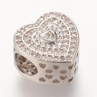 Messing European Perlen, Herz, Platinfarbe platiniert, Micro pave Zirkonia & ohne troll, frei von Nickel, Blei & Kadmium, 11.4x11.4mm, Bohrung:ca. 4-5mm, 5PCs/Tasche, verkauft von Tasche