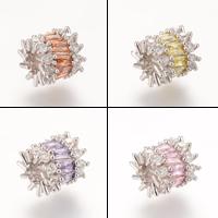 Messing European Perlen, Platinfarbe platiniert, ohne troll & mit kubischem Zirkonia, frei von Nickel, Blei & Kadmium, 11.1x10.7mm, Bohrung:ca. 4-5mm, 5PCs/Tasche, verkauft von Tasche