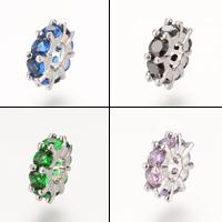 Messing European Perlen, Platinfarbe platiniert, ohne troll & mit kubischem Zirkonia, frei von Nickel, Blei & Kadmium, 10.7x3.5mm, Bohrung:ca. 4-5mm, 5PCs/Tasche, verkauft von Tasche