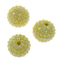 Lagerluft Perlen Schmuck, Harz, rund, mit Strass, gelb, 20mm, Bohrung:ca. 2mm, 10PCs/Tasche, verkauft von Tasche