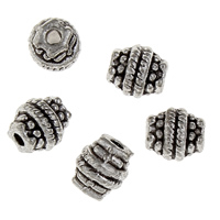 Zink Legierung Perlen Schmuck, Zinklegierung, Trommel, antik silberfarben plattiert, frei von Blei & Kadmium, 7x6.50x6.50mm, Bohrung:ca. 2mm, 20PCs/Tasche, verkauft von Tasche